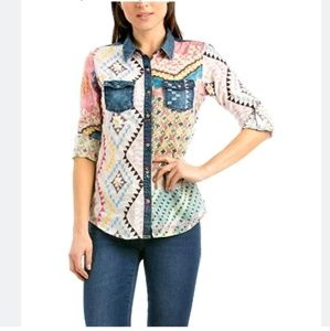Desigual M Patchwork Rayon Blouse Top